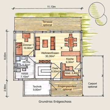 Holzhaus Eschenbergen Grundriss EG