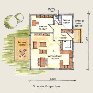 Holzhaus Potsdam Grundriss EG