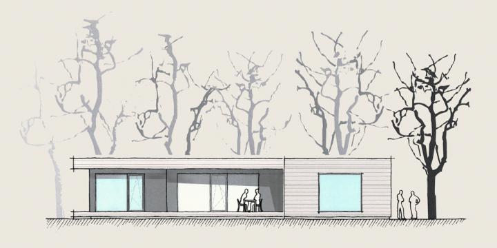 Holzhaus auf einer Ebene Ansicht