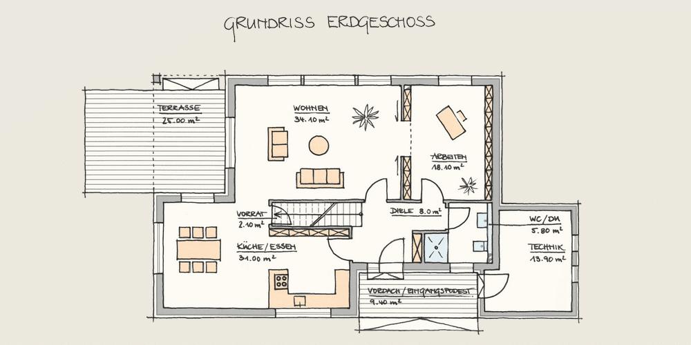 Holzhaus Konzepte - Wohnen und Arbeiten - EG
