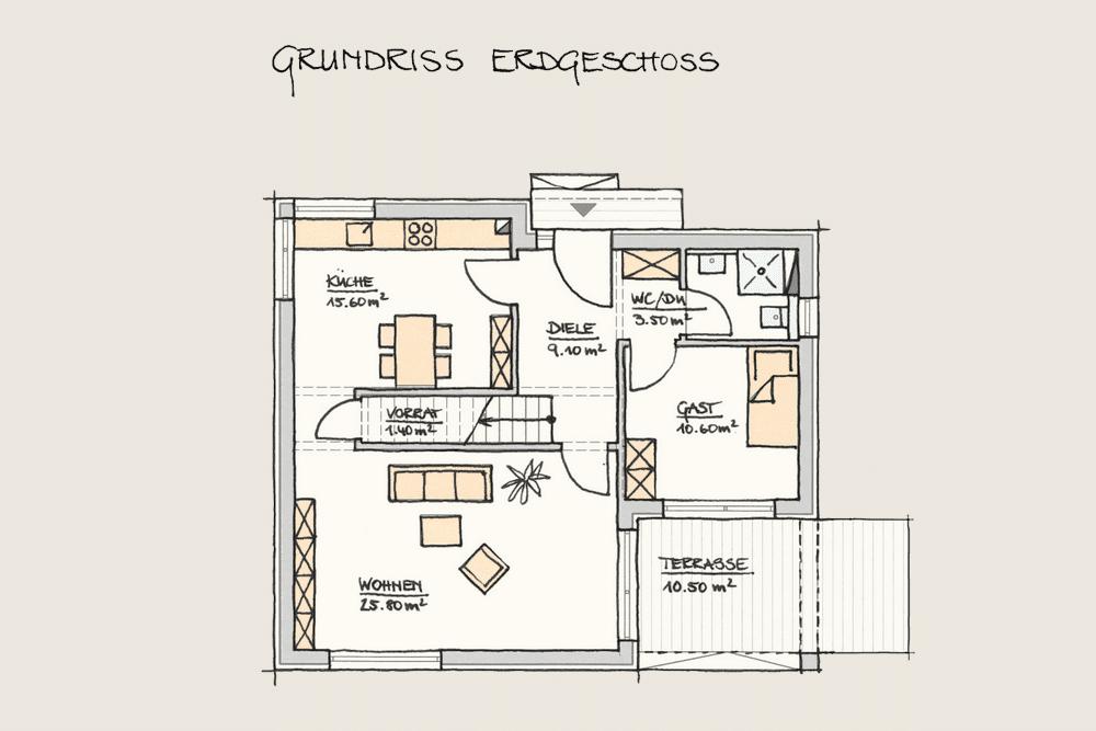 Holzhaus Konzepte Wohnen im Kubus Grundriss EG