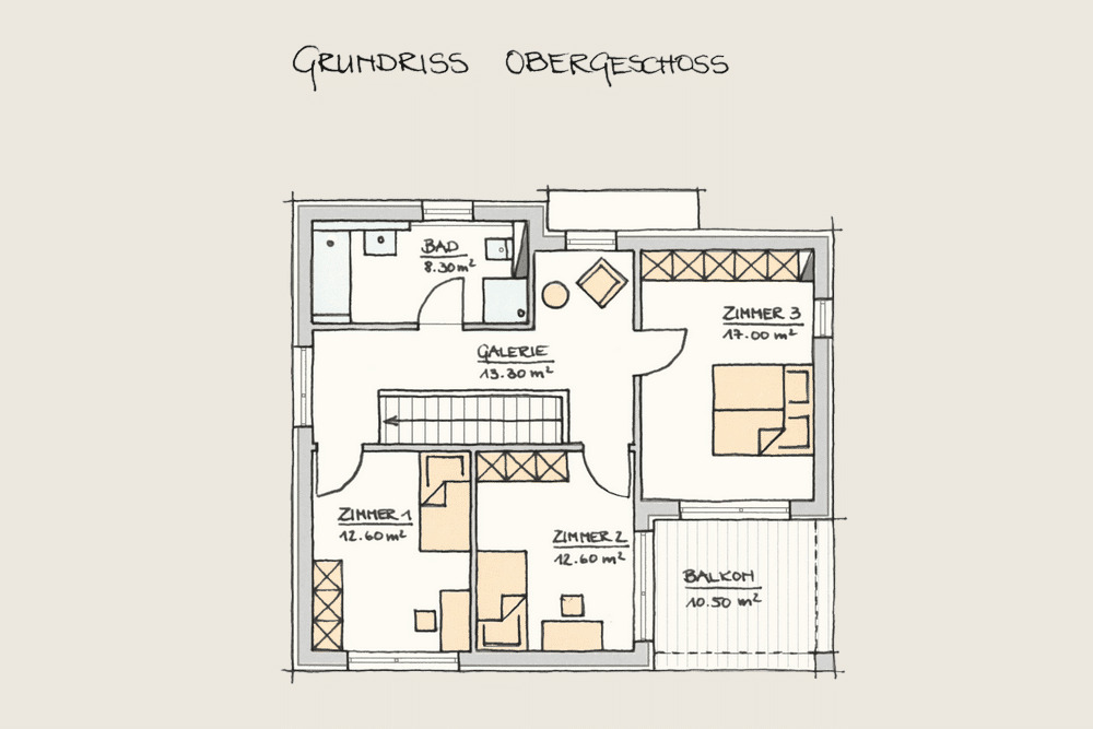 Holzhaus Konzepte Wohnen im Kubus Grundriss OG