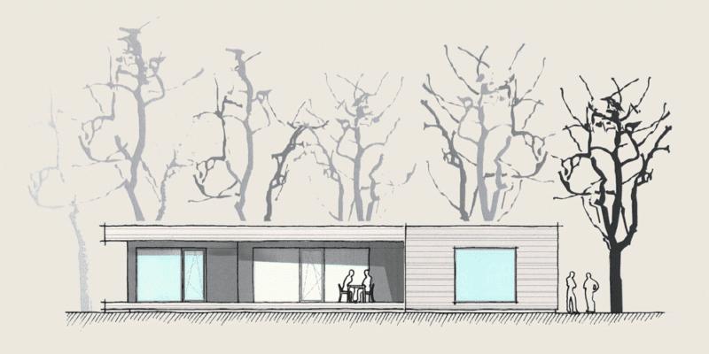 Wohnen auf einer Ebene im Holzhaus: Holzhaus Wohnen auf einer Ebene Ansicht 1