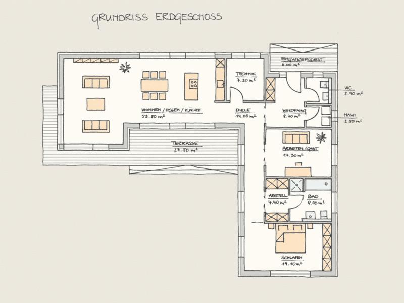 Wohnen auf einer Ebene im Holzhaus: Holzhaus Wohnen auf einer Ebene EG 2