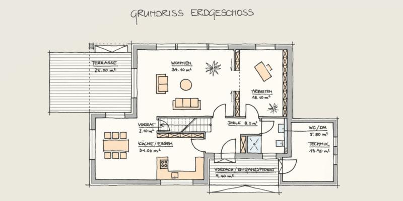 Wohnen und Arbeiten im Holzhaus: Holzhaus Konzepte EG fertig 3 1 2