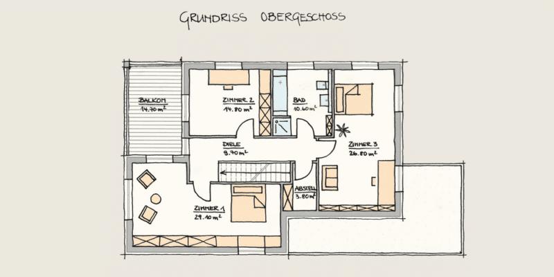 Wohnen und Arbeiten im Holzhaus: Holzhaus Konzepte OG fertig 3 1 3