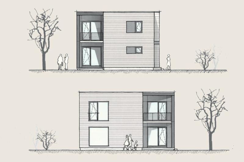 Wohnen im Kubus: Holzhaus Wohnen im Kubus Ansichten 1