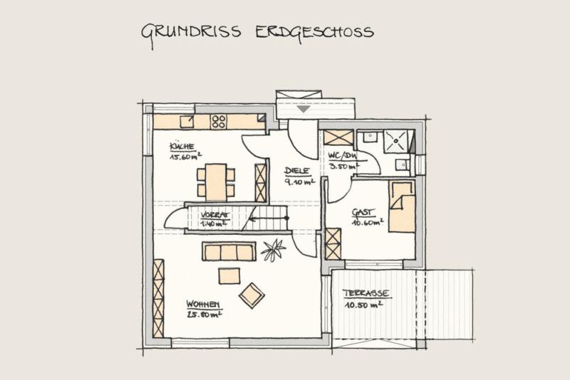 Wohnen im Kubus: Holzhaus Wohnen im Kubus Grundriss EG 2