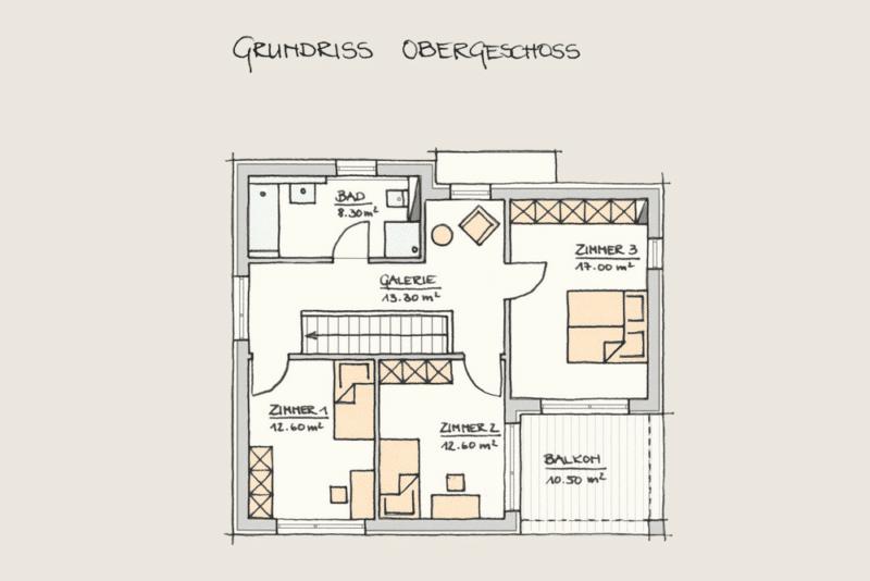 Wohnen im Kubus: Holzhaus Wohnen im Kubus Grundriss OG 3