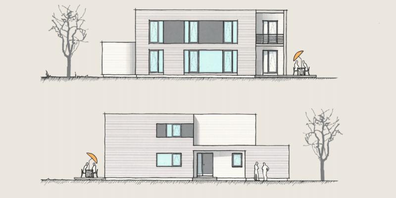 Wohnen und Arbeiten im Holzhaus: Holzhaus Wohnen und Arbeiten Ansichten 1