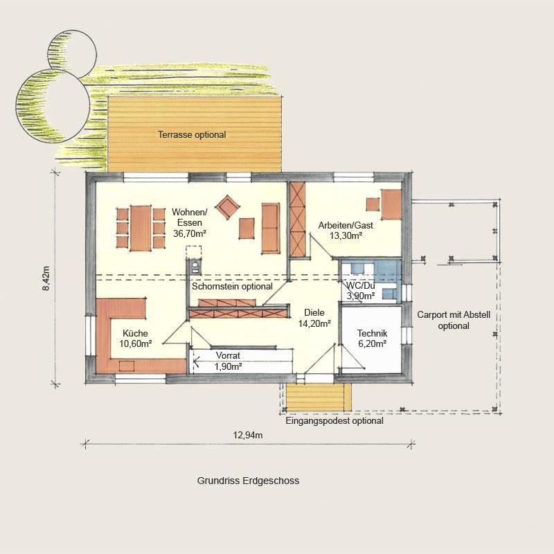 Holzhaus Jena EG 1