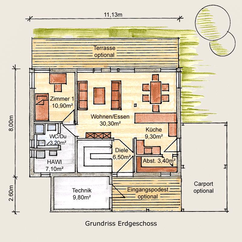 Holzhaus Eschenbergen: Holzhaus Eschenbergen EG 7